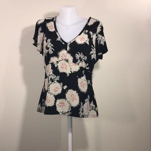 Dark Floral Blouse by Liz Claiborne Size Large